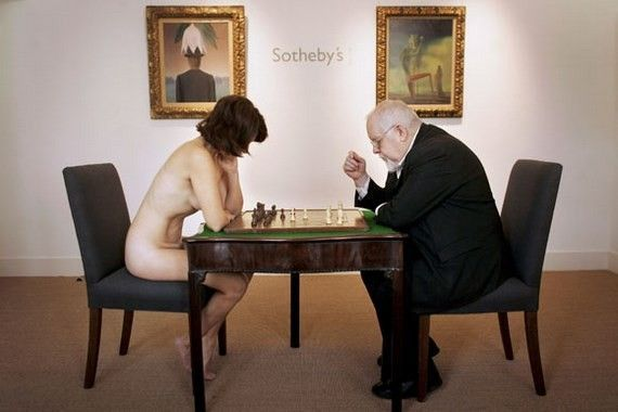 Artist And Nude Recreate Surrealist Chess Game
